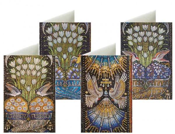 Briefkarten: Vogelhochzeit Mosaik