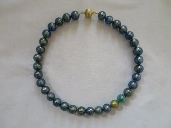 Murano-Collier Blau-Gold