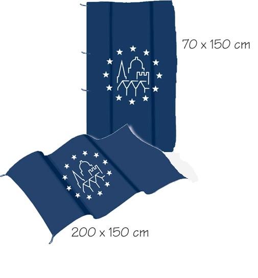 Fahnen mit europäischem Denkmal-Logo 200x150
