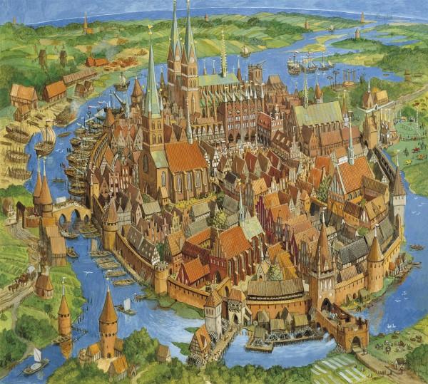 Puzzle Die Hansestadt im Mittelalter - klein